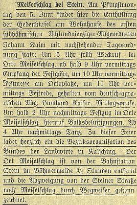Zpráva o odhlalení jeho pamětní desky v Míšňanech byla včeskobudějovickém německém listu vysázena nezvykle podtrženým písmem