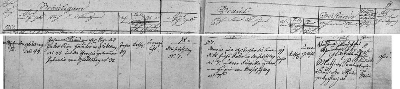 Záznam o jeho svatbě v oddací matrice farní obce Polná na Šumavě