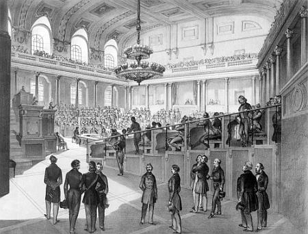 Kresba, zachycující zasedání vídeňského říšského sněmu v roce 1848