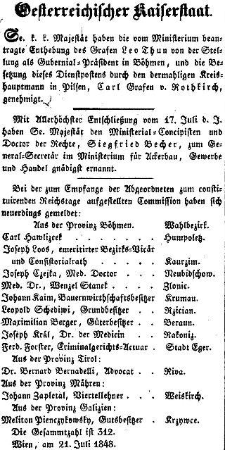 """Zpráva z vídeňského tisku o jeho zvolení do  říšského sněmu za""""ProvinzBöhmen"""""""