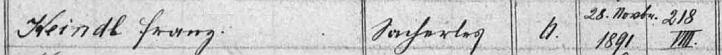 V indexu matriky farní obce Rychnov u Nových Hradů nacházíme záznam o narození chlapce jménem Franz Keindl ve vsi Kamenná dne 28. listopadu 1891