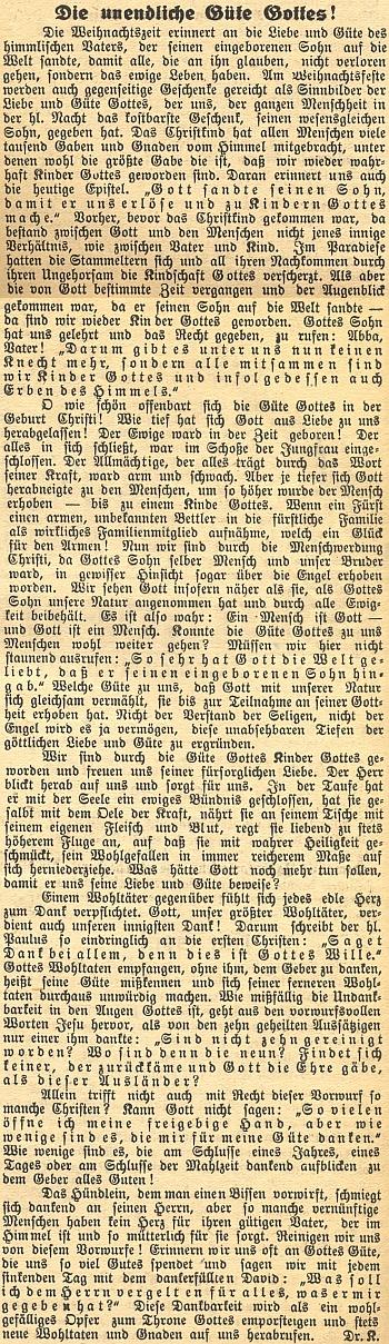 Jeho úvodník k 1. číslu 5. ročníku německého diecézního listu českobudějovického biskupství, označený signaturou Dr. K.