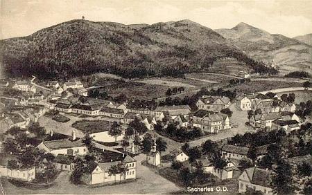 Rodná obec (kreslená pohlednice z roku 1942)