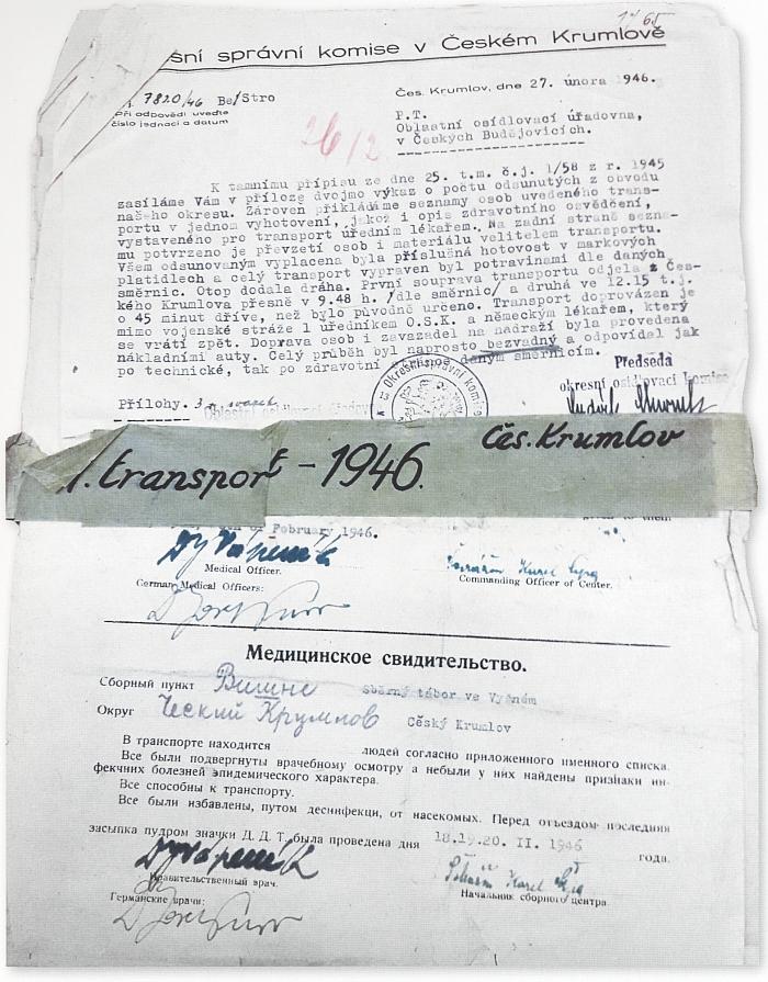 Úvodní složka z úplně prvního transportu vypraveného ze střediska Vyšný u Českého Krumlova v únoru 1946