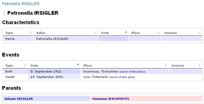 Tento záznam na serveru GEDBAS umožňuje hledání jejích rodových předků