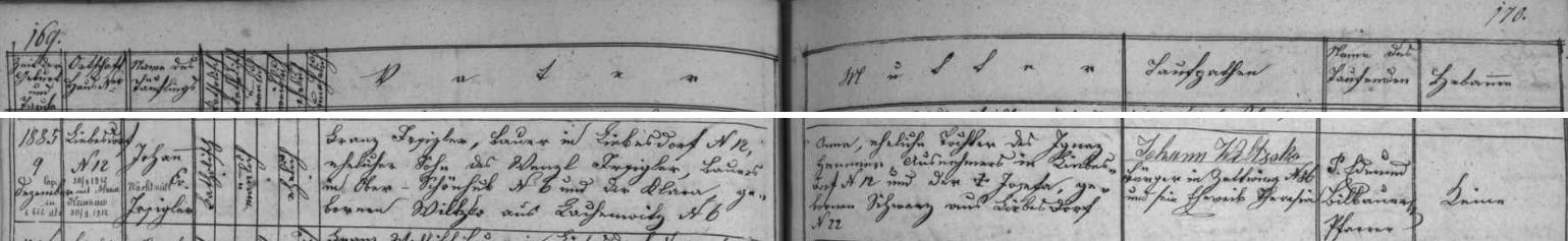 Záznam o narození jejího otce v Hněvanově na stránkách farní matriky obce Rožmitál na Šumavě