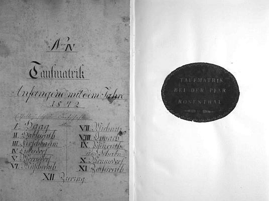 Titulní list křestní matriky farní obce Rožmitál na Šumavě se záznamy z let 1842-1902