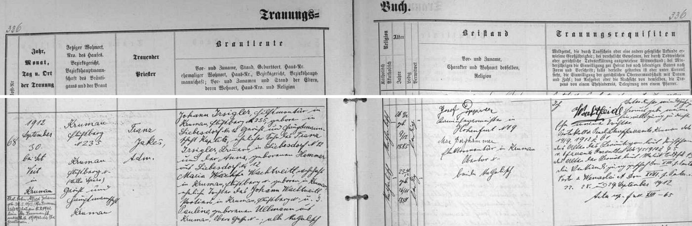Záznam o svatbě jejích rodičů v oddací matrice farní obce Větřní