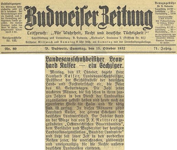 Záhlaví článku k jeho šedesátinám v českobudějovickém německém listě