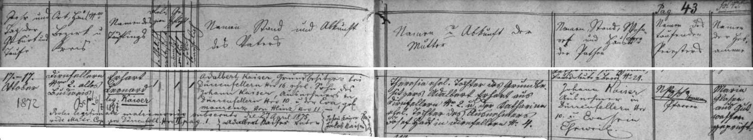 Záznam křestní matriky farní obce Dobrá Voda u Českých Budějovic o jeho narození