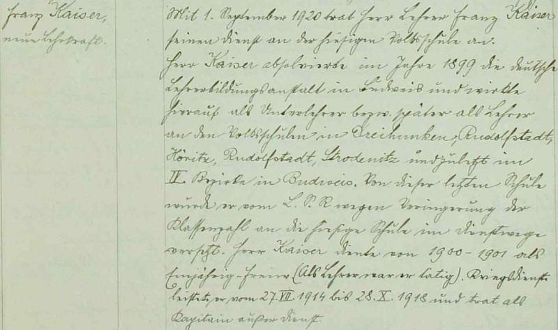 Originální zápis o jeho příchodu do českokrumlovské německé chlapecké školy