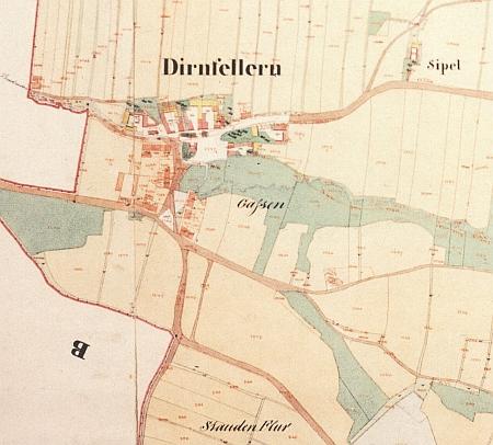 Rodné Suché Vrbné na originálu mapy stabilního katastru z roku 1827 s vyznačením pozdějších změn