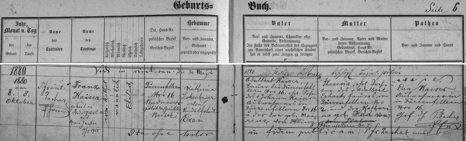 Záznam o jeho narození v křestní matrice farní obce Dobrá Voda u Českých Budějovic