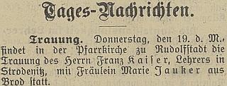 Zpráva o jeho svatbě s Marií Jaukerovou v českobudějovickém německém listu