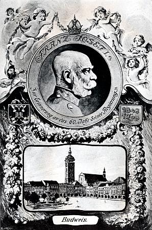 """""""Budějovická"""" pohlednice k 60. jubileu panování císaře Františka Josefa I."""