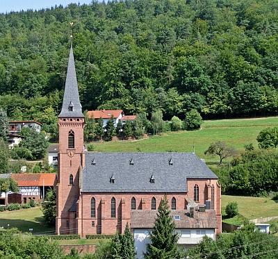 Znak osady Rippberg, kde je pochován, a místní kostel