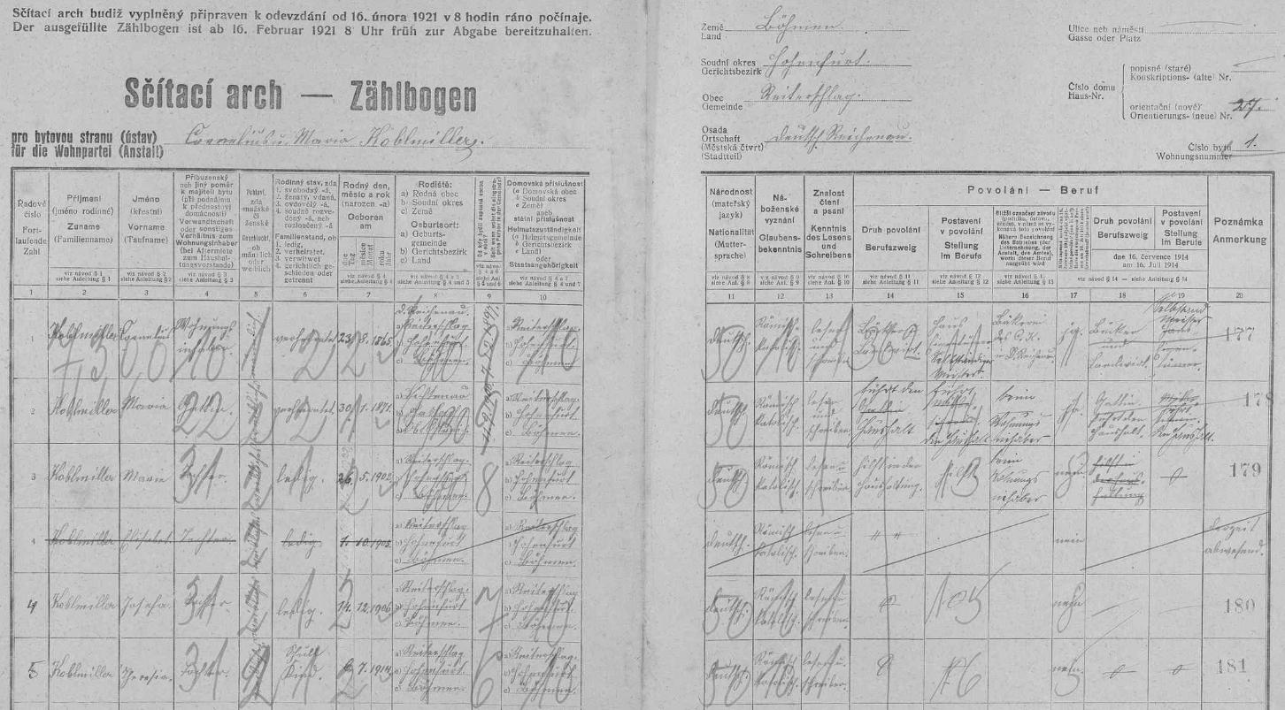 Arch sčítání lidu z roku 1921 pro dům čp. 27 v někdejším Rychnůvku s rodinou Koblmillerovou a jejich dcerou Josefou, provd. Kaiserovou, Maximilianovou matkou