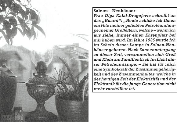 Tady v dopise krajanskému měsíčníku prozradila při snímku petrolejové lampy svých prarodičů, kdeže se to na Šumavě v jejím svitu narodila