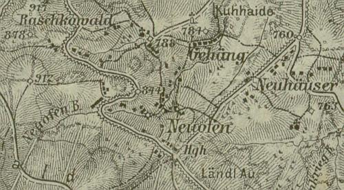 Rodné Nové Chalupy (Neuhäuser) na výřezu staré mapy