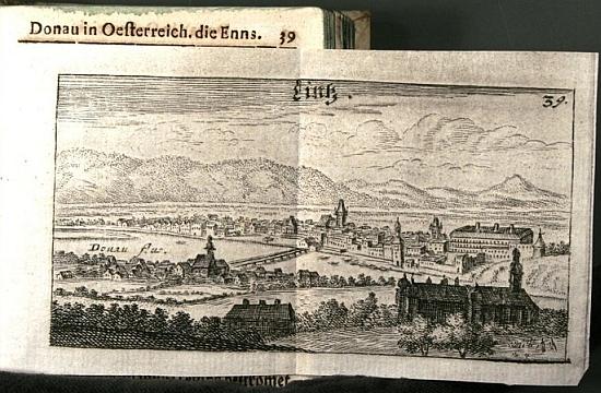 Obrázek města Lince z knihy Sigmunda von Birken Der vermehrte Donau-Strand (1. vydání 1664), která byla skutečným dobovým bestsellerem
