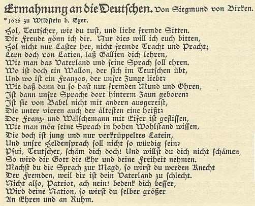 Báseň Sigmunda von Birken Napomenutí Němcům, jak je v roce 1930 přetiskl sborník Ringendes Volkstum,sestavený Karlem Franzem Leppou a Josefem Mühlbergerem