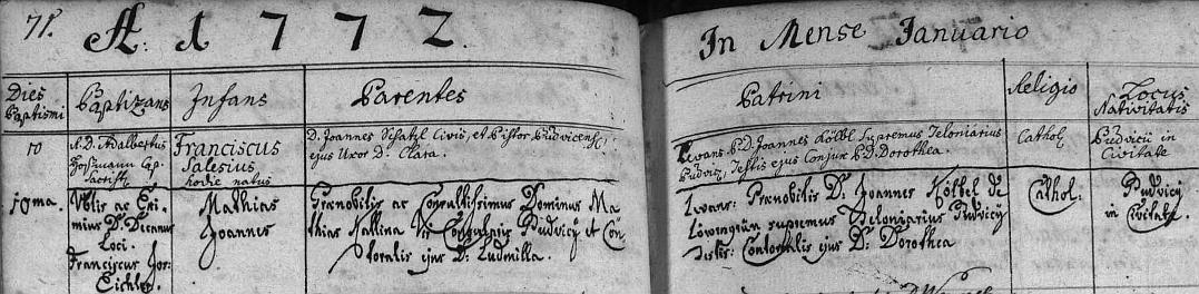 Latinsky ještě psaný záznam z českobudějovické matriky o jeho narození v rodině Mathiase Kaliny a jeho choti Ludmily