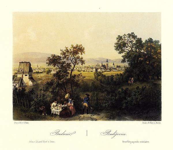 Rodné Budějovice na barevné litografii Augusta Hauna (1864)