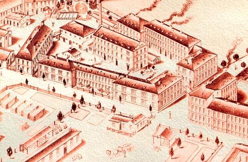 Na vyobrazení Hardtmuthovy továrny z doby po roce 1870 je část areálu nádraží ve spodní části, strážní domek je dole uprostřed