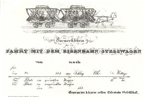 Jizdenka koňky pro osobní přepravu z roku 1838