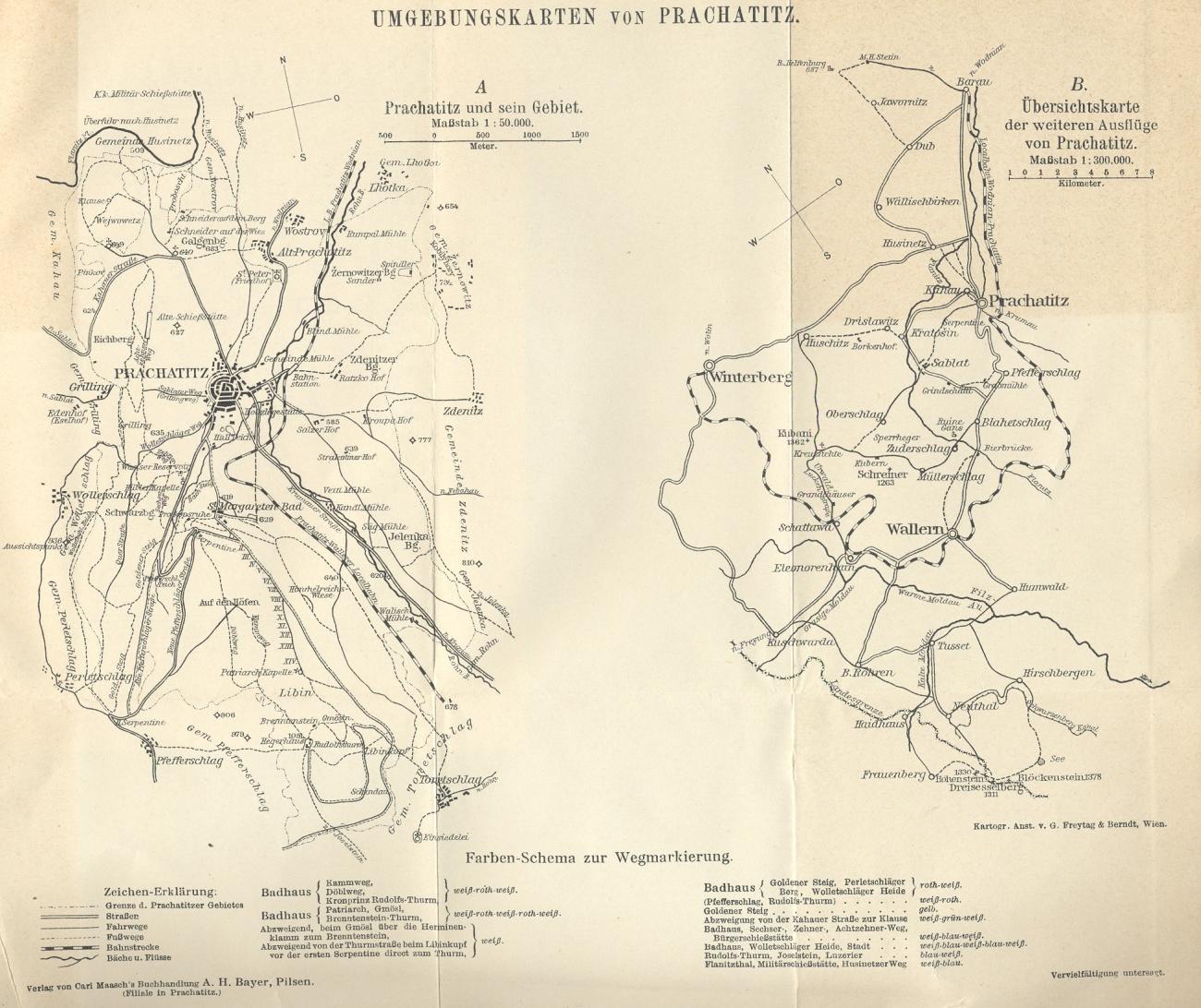 Dva plánky užšího i širšího okolí Prachatic z jeho průvodce