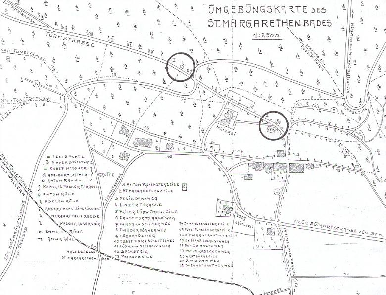 Plánek okolí Lázní sv. Markéty s názvy vycházkových cest, v nichž figurují osobnosti ze stránek Kohoutího kříže     Dahn, Kernstock, Messner, Rosegger či jiní němečtí velikání