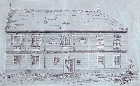 Rodný dům na kresbě z konce 19. století, už s pamětní deskou k poctě bratrově