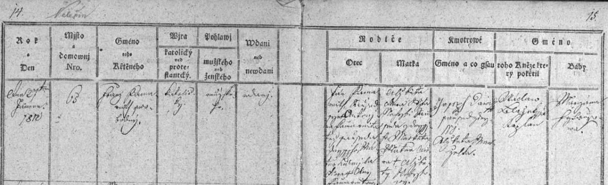 Záznam křestní matriky farní obce Velešín o jeho narození