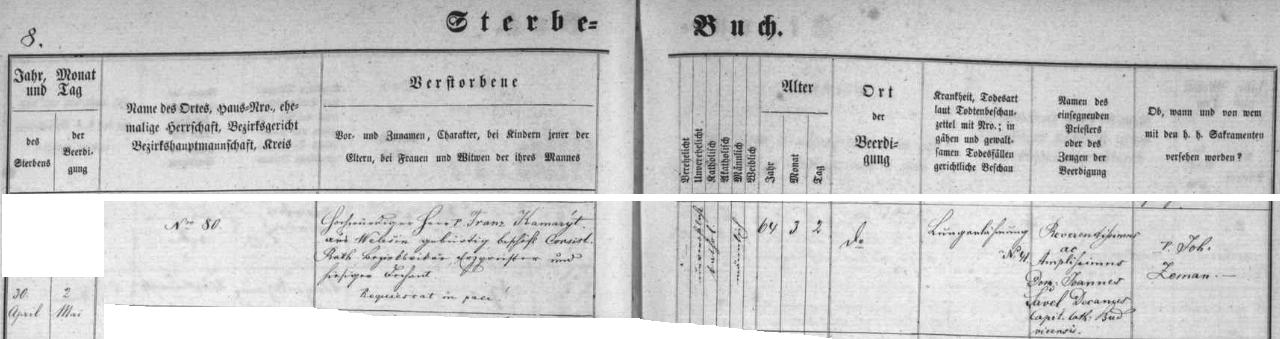 Záznam kaplické úmrtní matriky
