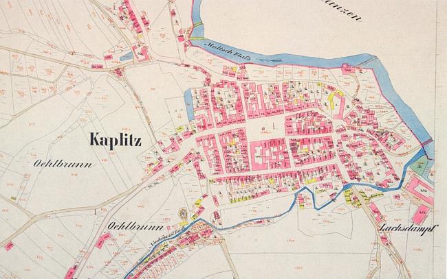 Kaplice na katastrální mapě z poloviny 19. století