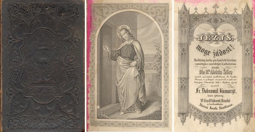 Vazba, frontispis a titulní list jeho modlitební knihy, přeložené z německého originálu Aloise Schlöra (1805-1852) avydané u jindřichohradeckého Landfrase podle anotace Národní knihovny někdy v letech 1834-1854
