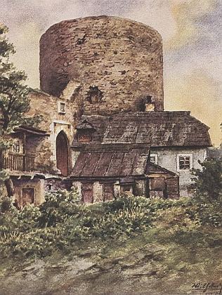 """Akvarel Wilhelma Fischera zachycuje vimperský """"Haselburg"""", zbudovaný v půli 15. století Kaplíři ze Sulevic, tehdejšími pány města"""
