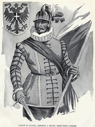 Hrdinný obránce a velitel Vídně proti Turkům Kašpar Zdeněk Kaplíř ze Sulevic (1611-1686) na obrázku z knihy ještě v katolickém duchu jako poválečný dárek k Vánocům