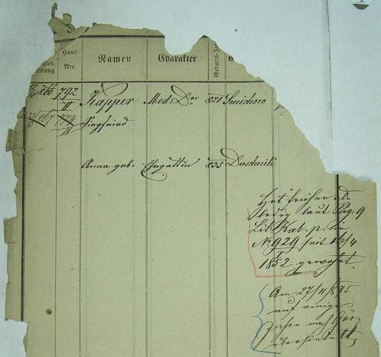 I značně porušená pobytová přihláška pražského policejního ředitelství prozrazuje rok jeho narození na pražském, tehdy ovšem samostatném Smíchově, jakož i data manželčina a přípis o jeho přesídlení do tehdy rakouského města Görz (dnes Gorizia na severovýchodě Itálie)