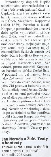 """Jan Neruda, """"proslavený"""" antisemitským pamfletem """"Pro strach židovský"""" (1869), Kapperovi v nekrologu alespoň přiznal místo na """"slovanském Parnasu"""""""