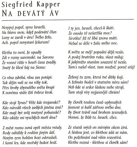 Jeho česká báseň, přetištěná v Českožidovském almanachu po téměř 150 letech