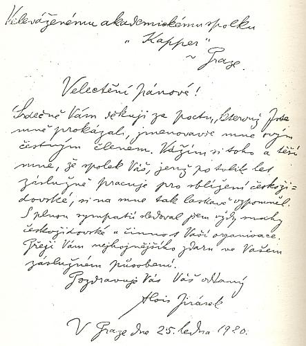 Dopis Aloise Jiráska akademickému spolku Kapper z ledna roku 1920