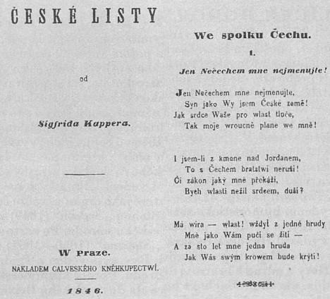 Titulní list sbírky České listy (1846) a strana z ní se známou básní