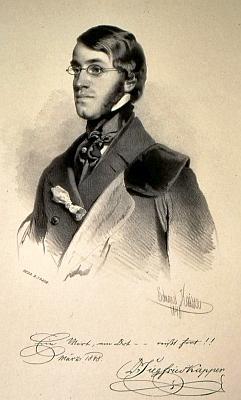 Na litografii Eduarda Kaisera z roku 1848, provázené ivlastnoručním podpisem tehdy osmadvacetiletéhoKappera