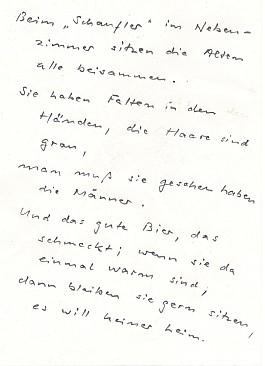 Převod části jeho básně do spisovné němčiny,     jak ho poskytl autorovi Paul Praxl