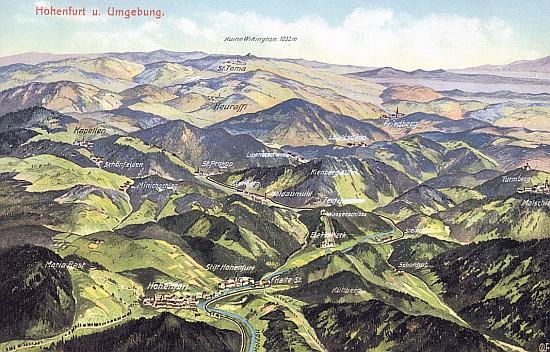 Svatý Tomáš a Vítkův Kámen dominují panoramatické pohlednicové mapě okolí Vyššího Brodu z roku 1914