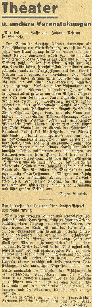 Dva jeho texty, otištěné v roce 1944 v budějovickém německém listu