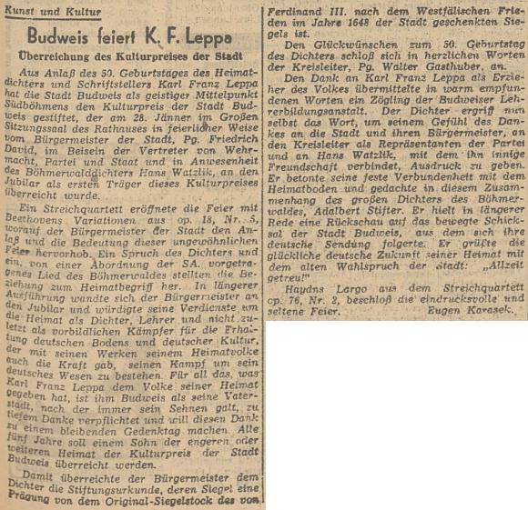 Jeho článek v lineckém listu o budějovických oslavách 50. narozenin Karla Franze Leppy