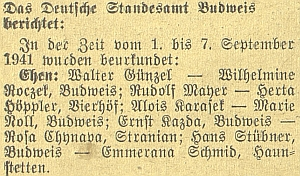 """Zpráva německého """"stavovského úřadu"""" o jeho budějovických """"oddavkách"""""""