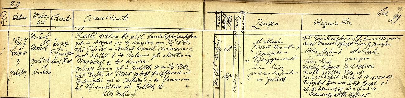 Ze záznamu o jeho sedlecké svatbě vysvítá, že byl tehdy bytem v Mělníku čp. 150 a učil s titulem doktora filosofie na obchodní škole ve dnes zcela zaniklém rodném Doupově, nevěsta, narozená v Sedleci čp. 12 dne 12. dubna roku 1906, byla dcerou řezníka a hostinského Aloise Zebische a Hermine, roz. Schwengsbierové ze Sedlece čp. 12